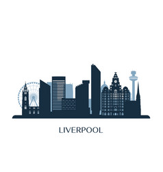 liverpool skyline monochrome silhouette vector image
