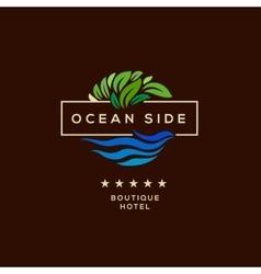 Logo for hotel ocean side resort logotype design vector