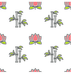 lotus and bamboo spa and beauty floristic seamless vector image
