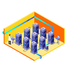 man data storage center maintenance vector image