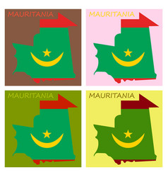 Map mauritania with flag vector