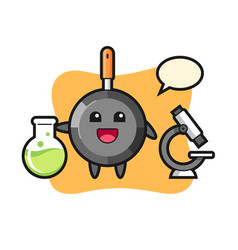 Mascot character frying pan as a scientist vector