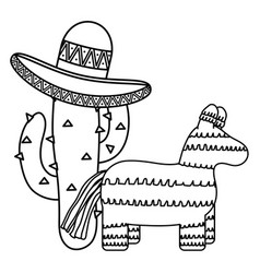 mexican pinata with cactus and hat vector image