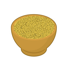Millet in wooden bowl isolated groats in wood vector