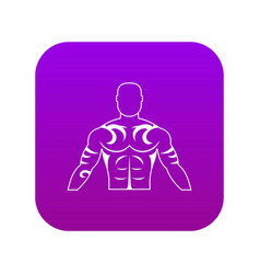 Muscular man with tattoo icon digital purple vector