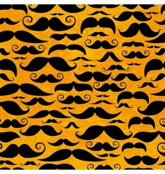 Mustache orange seamless pattern in vintage style vector image