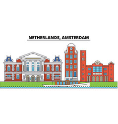 netherlands amsterdam city skyline architecture vector image