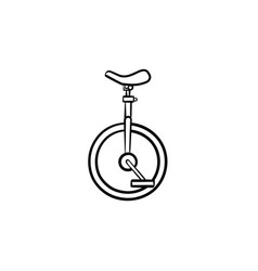 One wheel bicycle hand drawn sketch icon vector