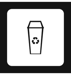Open trash can icon simple style vector