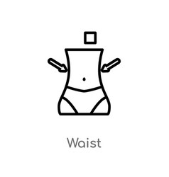 outline waist icon isolated black simple line vector image