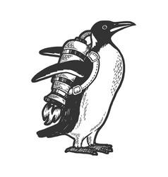 Penguin bird with jetpack sketch vector