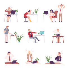 people looking scared into computer screen set vector image