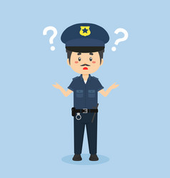 Police confused with question mark vector