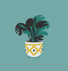 pot with house flower isolated on colorful vector image