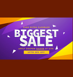 purple and yellow biggest sale discount voucher vector image