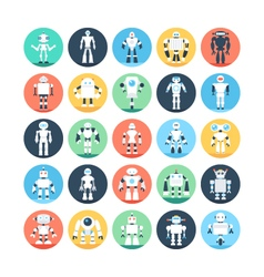 Robots Colored Icons 1 vector