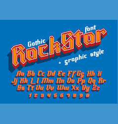 Rock star - decorative font with graphic style vector