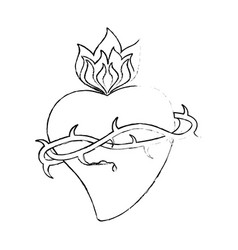 sacred heart crown thorns sketch vector image