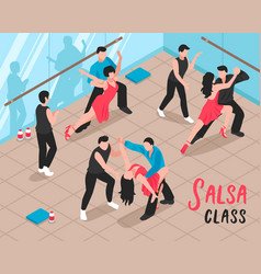 salsa class people isometric vector image