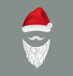 santa hat and beard vector image