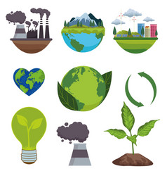 Save world environmental poster with bundle vector