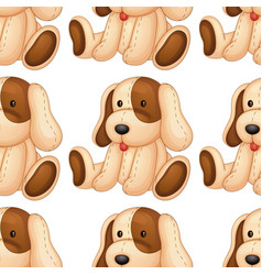 Seamless pattern tile cartoon with toy dog vector