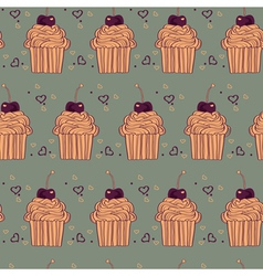 seamless pattern with decorative cupcakes in vector image