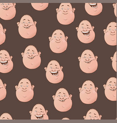 seamless pattern with roly poly facial vector image