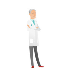 senior caucasian confident doctor with folded arms vector image