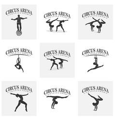 Set circus with dancer icon logo design vector