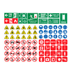 Set hazard warning signs set of vector