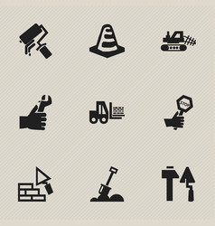 Set of 9 editable construction icons includes vector