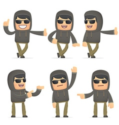 Set of hacker character in different poses vector