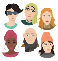 set of six people flat avatars vector image