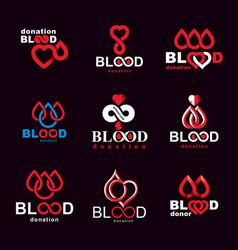 Set of symbols created on blood donation theme vector