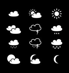 set of weather black icons vector image