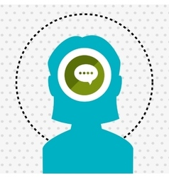 silhouette chat message icon vector image