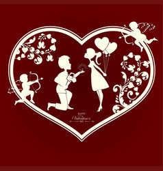 silhouette of a heart with a couple in love and vector image