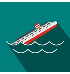 Sinking ship icon flat style vector