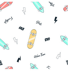 skateboarding seamless pattern with hand drawn vector image