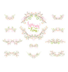 Spring page decorations and dividers isolated vector