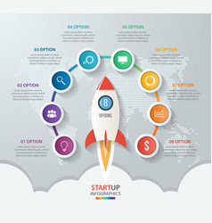 Startup circle infographics with rocket 8 options vector