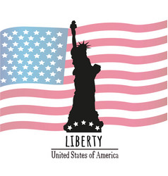 statue of liberty with the american flag vector image