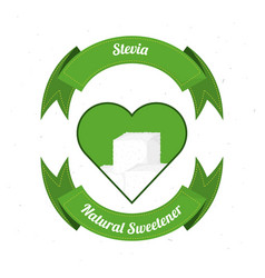 stevia natural sweetener with leaves label vector image