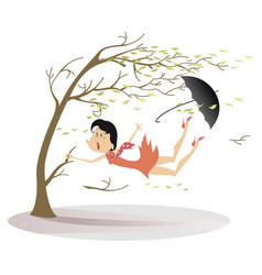 strong wind umbrella and woman snatches up a tree vector image