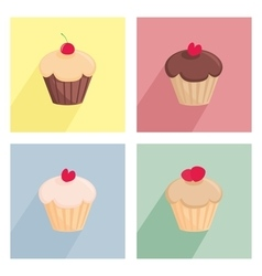 Sweet cupcake flat icon set vector image