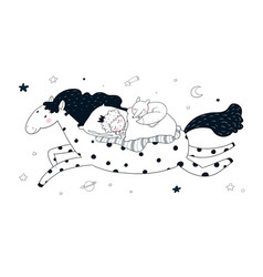 the boy in crown sleeps on a magic pony the vector image