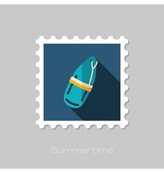 Torpedo rescue lifeguard buoy flat stamp Summer vector image