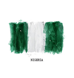 watercolor painting design flag of nigeria vector image