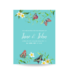 Wedding invitation template tropical design vector